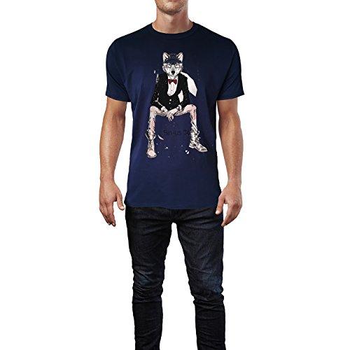 SINUS ART ® Zeichnung Hipster Wolf mit Fliege und Brille Herren T-Shirts in Navy Blau Fun Shirt mit tollen Aufdruck
