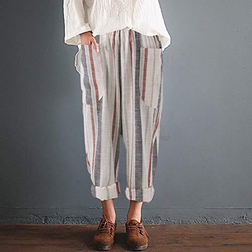 Size 5XL FAIYIWO S-5XL Zanzea Women Summer Fashion Pockets Casual Loose Colored Striped Cotton Pants FAIYIWO Like The Picture