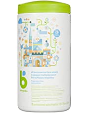 Babyganics Unscented & All-Purpose Wipes, Surface Cleaning Wipes to Cover Baby's Tracks and Prepare Their Next Adventure, Fragrance and Ammonia Free, 75 Wipes