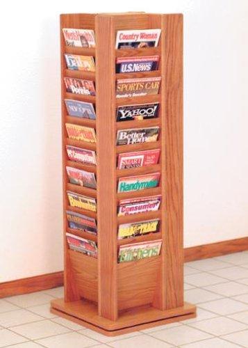 (Wooden Mallet MR40-SP 40 Pocket Spinning/Rotating Floor Magazine Rack from ABC Office in Medium Oak)
