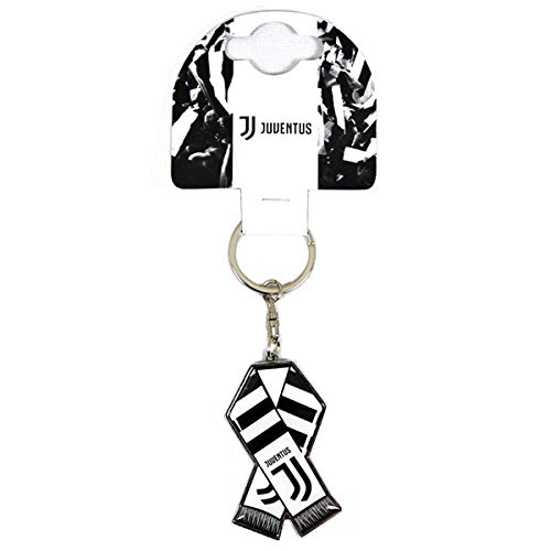 Official Juventus White and Black bar Scarf Design Metal Keyring