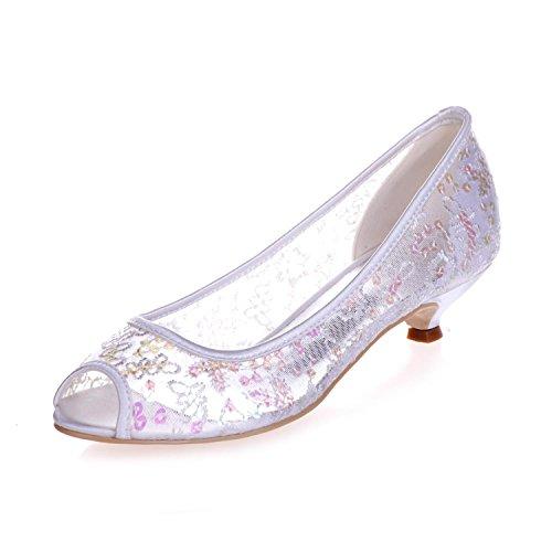 L@YC 0700-13 Women'S Low Heel Fish Tank Peep Toe Wedding Bridal Court Shoes Lace Pump White x469mfcm