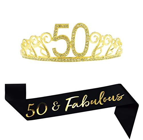 50th Birthday Gold Tiara and Sash, Glitter Satin Sash and Crystal Tiara Birthday Crown for 50th Birthday Party Supplies Favors Decorations 50th Birthday Cake (50th Birthday Sashes And Tiaras)
