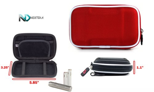 DSE 801 Pen Carrying Travel Semi-Hard Case + Carabiner Hook for keys - Red EVA + NextDia ™ Velcro Cable Strap.