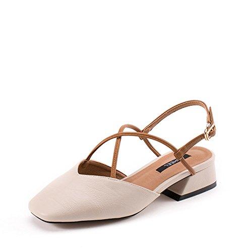 Sommer Sandalen,Square Head Heel Heel Retro Schuhe,Casual Cross Bandage Schuhe-A Fußlänge=24.3CM(9.6Inch)