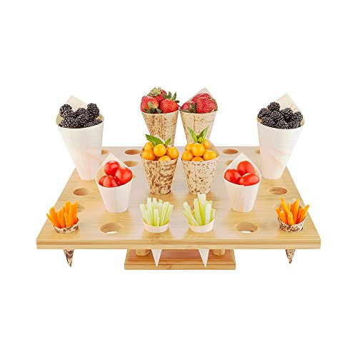 13.5-inch Oblong Food Cone and Sushi Hand Roll Display Stand: Perfect for Restaurants, Catered Events, and Buffets - Holds 36 Cones - Made from Organic Bamboo - 1 Count Box - Restaurantware
