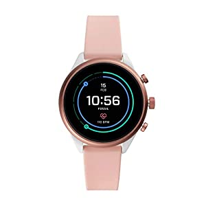 Fossil Sport (41mm, blush) Women Metal and Silicone Touchscreen Smartwatch with AMOLED screen, Heart Rate, GPS, NFC…