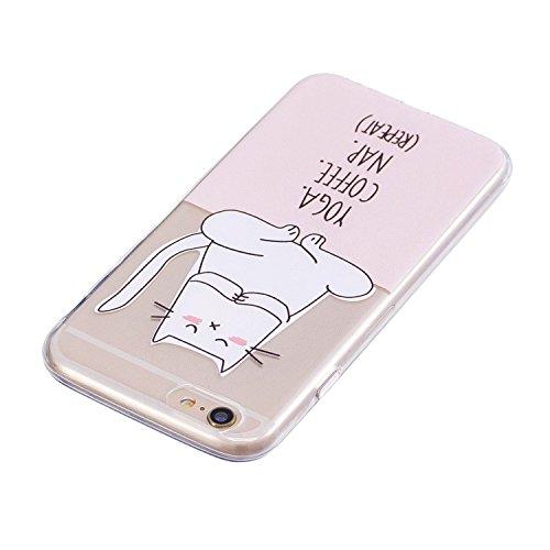 Apple iPhone 6/6S(4.7 Zoll) Funda , Ecoway TPU Altamente Transparente Antideslizante Suave Resistente a Los arañazos TPU Contraportada Funda de Carcasa Funda Bumper Para Apple iPhone 6/6S(4.7 Zoll) -  Gato de yoga
