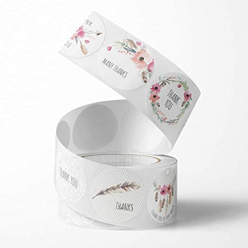 Unihom - Thank You Stickers Roll (Set of 2 1000 pcs) 2.5 cm / 1 inch Small Self Adhesive Label Roll Boutique Supplies for Business Letter Gift Packaging Customer Mailer &  Bag (Red Flower)