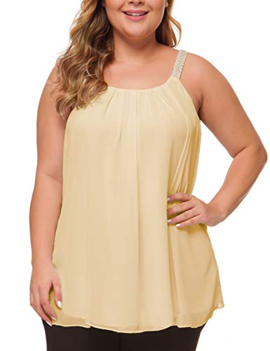 MANER Women's Plus Size Cami Casual Pleated Chiffon Tank Top with Beaded Strap (Beige, XL/US ()