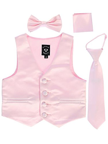 (Pink Big Boys 4 Piece Formal Satin Vest Set Zipper Tie Bowtie Hanky 12)