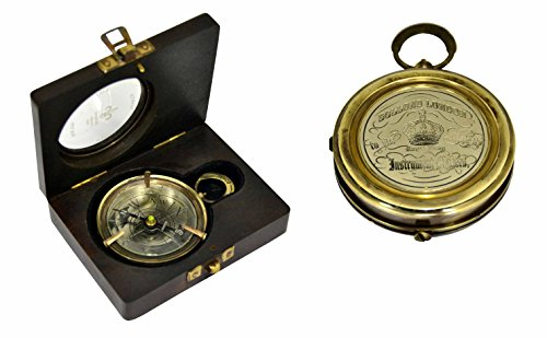 Brass Nautical Map Compass; Compass dimensions=6.2x6.2x1.4cm, Wt.=0.110 kg by Brass Nautical