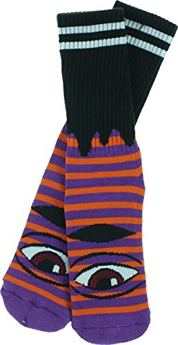 Toy Machine Sect Eye Stripe Crew Socks-Purple/Orange/Black 1 Pair