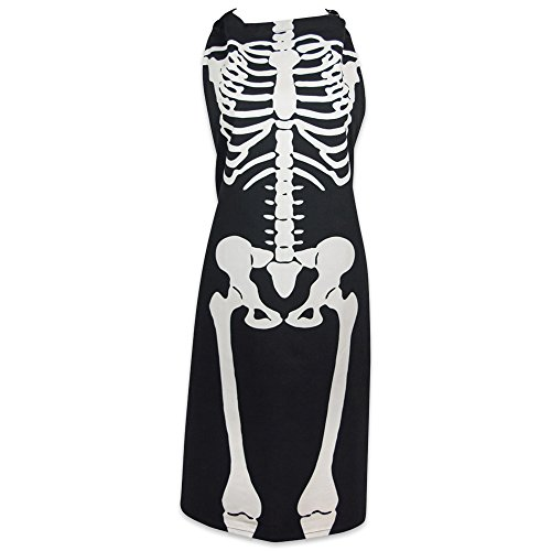 DII Cotton Halloween Holiday Kitchen Apron with Extra Long Ties, 35 x 28, Men and Women Apron for Cooking, Baking, Crafting, Gardening, BBQ-Skeleton -