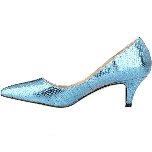 Loslandifen Womens Scarpe A Punta Corte In Pelle Di Coccodrillo Scarpe A Punta Corte Blu Chiaro