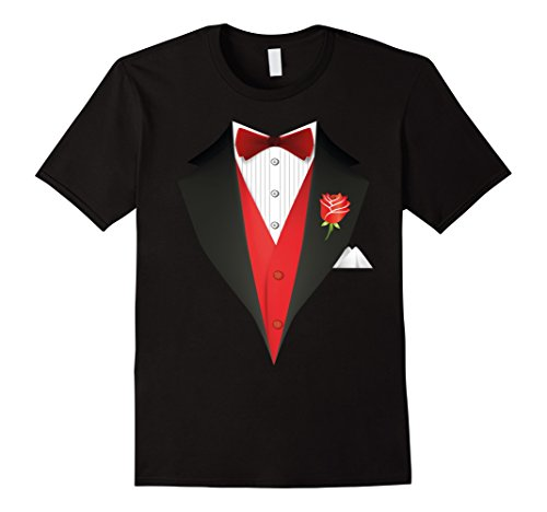 [Men's Valentine's Day Costume Red Bow Tie Tuxedo T-Shirt - Unisex XL Black] (Womens Tuxedo Costumes Tshirt)