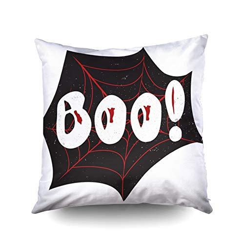 KIOAO Easter Standard Pillow Cases 16X16Inch Soft Square Throw Pillowcase Covers Halloween Poster Inside Boo Textured Background Grunge Modern Typographic Calligraphy Printed with Both Sides
