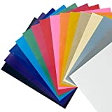 CISinks 15 Sheets 12''x10'' ( ASSORTED COLORS ) DIY PVC Heat Transfer Vinyl for T Shirts - Iron On or Heat Press Machine for Silhouette Cameo & Cricut Vinyl
