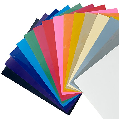 CISinks 15 Sheets 12''x10'' ( ASSORTED COLORS ) DIY PVC Heat Transfer Vinyl for T Shirts - Iron On or Heat Press Machine for Silhouette Cameo & Cricut Vinyl by CIS Inks