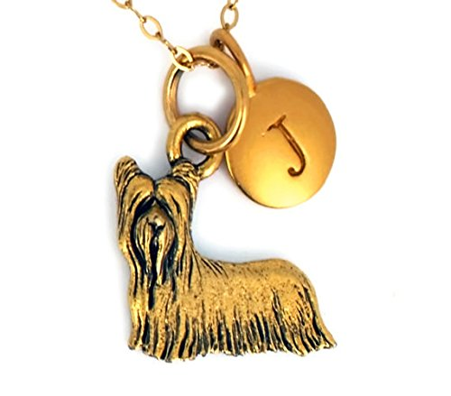 Yorkie Necklace In Antique Gold Pleated Pewter Personalized With A Five mm 24 K Gold Plated Bronze Initial Charm