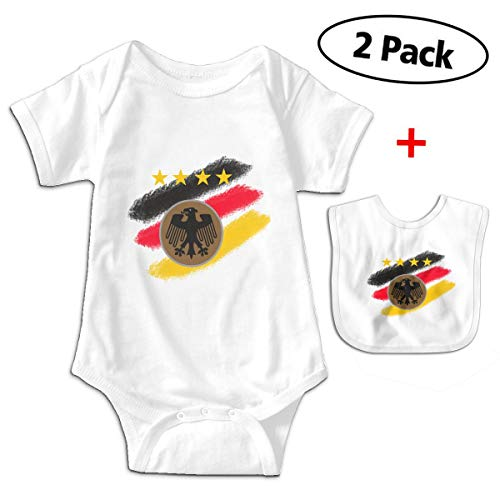 Leopoldson Retro Germany Falg Baby Bodysuits Short Sleeve Infant One-Piece with Baby -