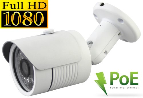 USG 2.4MP 1080P HD-IP PoE Network Bullet Security Camera - 3.6mm Wide Angle Lens - Home/Business Video Surveillance - Outdoor/Indoor IP66 Weatherproof Vandalproof 24 IR LEDs by Urban Security Group