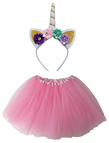 So Sydney Kids Girls 1-2 Pc Flower Unicorn Headband or Tutu Set Costume Outfit (Pink, M (Kid Size))]()