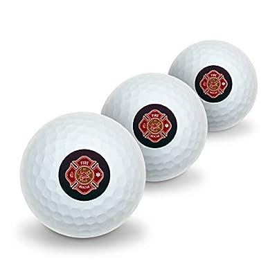 Firefighter Fire Rescue Maltese Cross Novelty Golf Balls 3 Pack