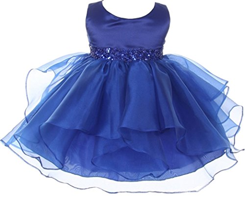 Infant Baby Toddler Flower Dress Sleeveless Beading Ruffles Dress Royal Blue L B111 by BNY Corner