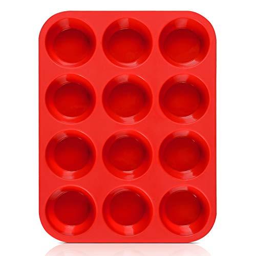 SJ European LFGB Silicone Muffin Pan, 1-Pack, 12-Cup Cupcake Pan Baking Mold Egg Muffin Pan, Non-Stick & BPA Free