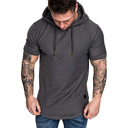 Realdo Big Mens Solid Casual Hoodie Autumn Winter Top Tracksuit with Pocket