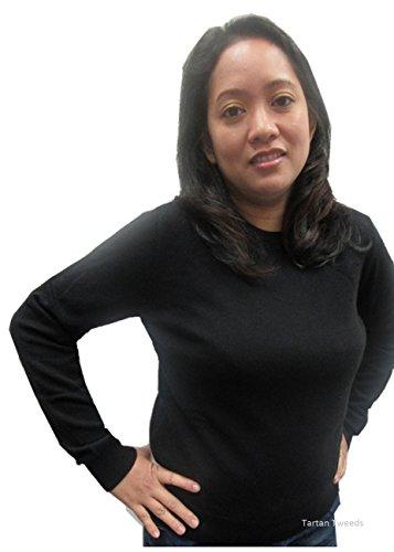 Lona Scott-Maglia a girocollo da donna, colore: Nero puro Cashmere 100% maglia