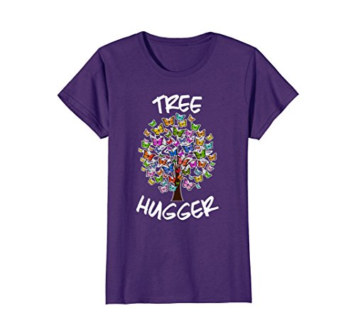 Womens Tree Hugger - Womens Cute Tree Hugger Colourful Butterfly Naturalist T-Shirt XL Purple