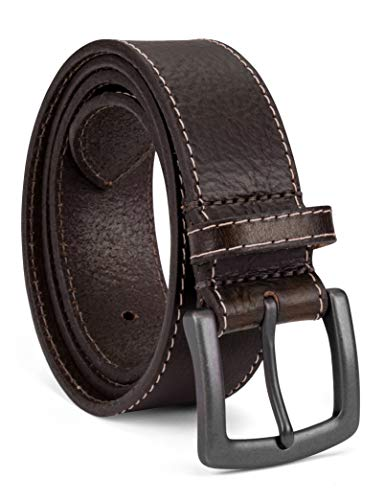 Colonial Belt Company Men's Made In The USA Casual Leather Jean Belt, brown/Milled contrast stitch, 38 ()