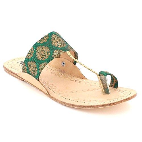 Femmes Chaussures Confort Glisser Plates LONDON Sandales Authentique Open Vert Décontractée Taille Toe Dames Chappal AARZ Kolhapuri sur S56xqvzwz
