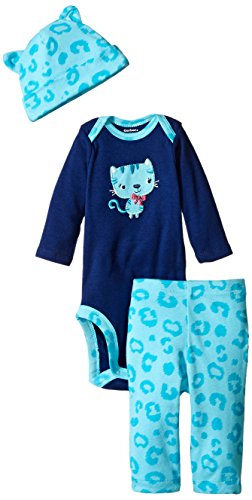 Gerber Baby-Girls Newborn 3 Piece Bodysuit Cap and Legging Set, Cat, 3-6 Months