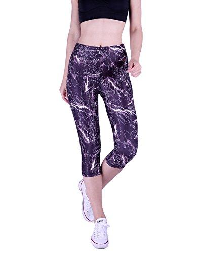 HDE Womens Capri Yoga Pants Fitted Stretch Leggings for Workouts Running (Small, White Lightning) (Women For Lightning Leggings)