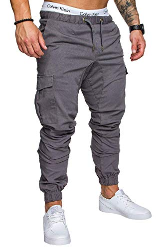 (Clothing Square Pants Men's Fitness Tooling Multi-Pocket Trousers Woven Fabric Casual Beam Pants,Large,Gray,)