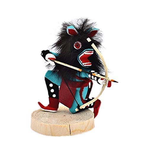 Artist Signed Genuine Navajo Native American Tribe Handmade in the USA Southwestern Collectible Figurine 4 Inch Authentic Crouching Turquoise Wolf Kachina Doll Natural Materials