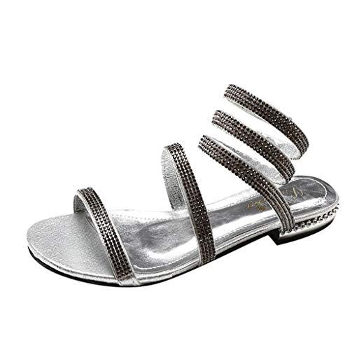 Cenglings Women's Open Shoes Rhinestone Flat-Bottom Cross Strap Sandals Sexy Roman Sandals Flat Shoes Silver