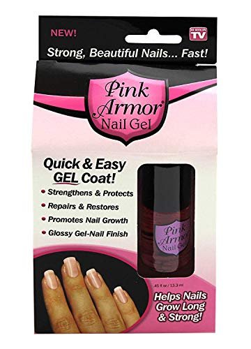 Pink Armor Nail Growth Nail Nutrition Gel Polish Remedy Fix Protective Layer Keratin Gel Pink Armor Nail Gel Promotes Nail Growth Glossy Gel-Nail 0.45 fl oz