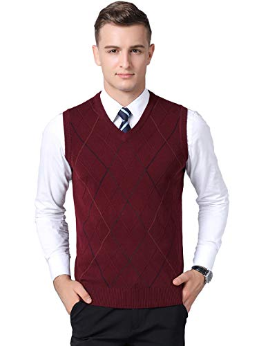 Kinlonsair Classic Mens V-Neck Sleeveless Jumper Vest Knitted Gilet Slipover Waistcoat Sweater Tank Tops Argyle