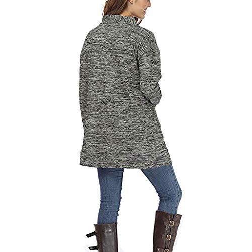 Long Cardigan Tops Chemisier Outwear ❤tefamore Vrac Longues Manches Femmes Manteau Veste En Gris Poches 8zqgA4