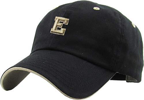 (KPA-1463 BLK E Alphabet Letter Dad Hat Polo Cap Adjustable)