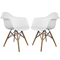 Poly and Bark Eames Style Molded Plastic Dowel-Leg Armchair (DAW) Natural Legs, White, Set of 2