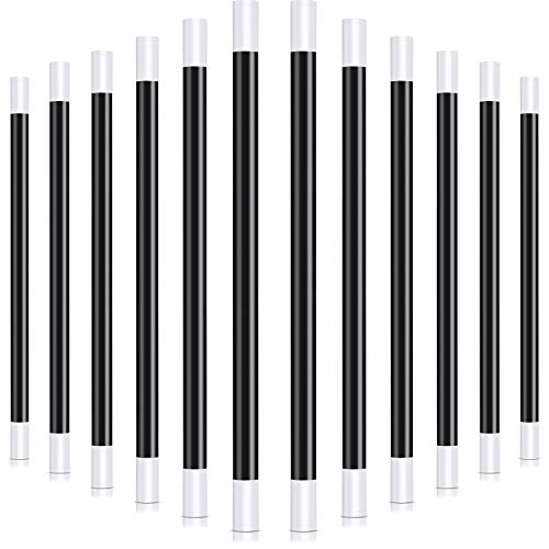 Gejoy 12 Packs 10 Inches Plastic Magic Wand Black and White Spell Casting Stick for Magician Costume