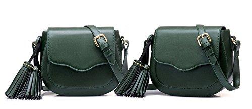 Bolsos de señora Xinmaoyuan Primavera Pu Borla Mini Portasilla Retro Bolso de Hombro, negro Green