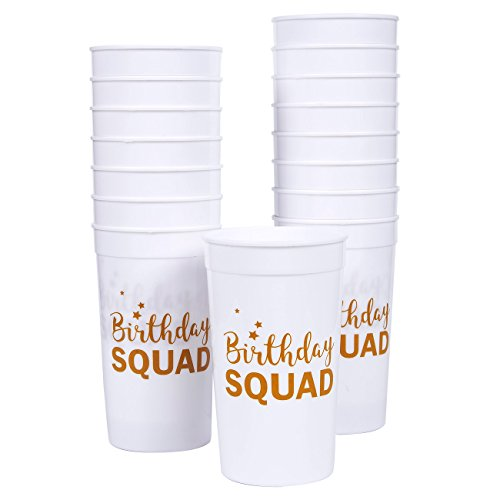 Plastic Party Cups - 16-Pack Reusable Tumblers, 16 Oz White Plastic Cups, Birthday Party Supplies,