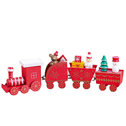 Xeagt Miniature Dollhouse Ornament,Mini Wooden Snowman Bear Christmas Train for Kids Children Funny Pretend Play Toys Role Playing Toy (Red) from Xeagt