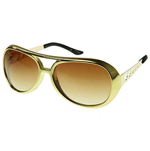 Rockstar Style Aviator Shades, Gold Sunglasses 1 - Rock Party Glasses
